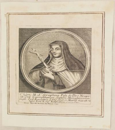 VEN. M. S. SERAPHINA PISA DE DEO NEAPOLIT. ORD. CARMELITARUM DOMIN. MISEROTTI ROMANUS SCUL. BONON 1742