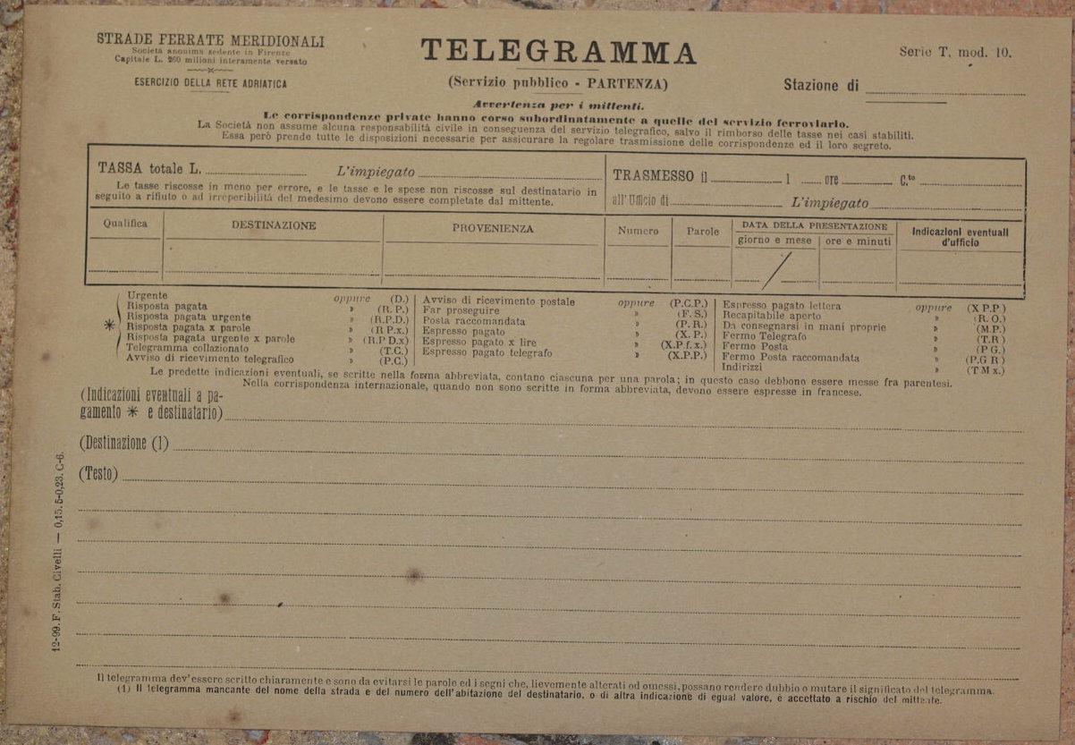 Telegramma Modulo Vuoto Dicembre 1899 Telegram Strade Ferrate